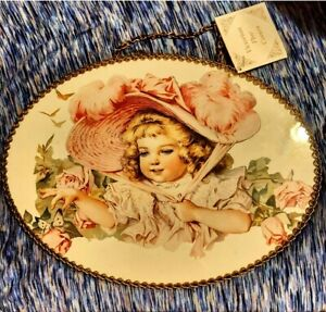 Vintage Flue Cover - Victorian Girl Picture under Glass Chain Border New W/Tags