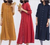 Womens Long  Lapel Fashion Soild Botton Linene Casual Oversize Long Sleeve Dress