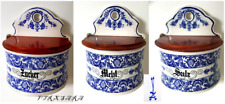 drei alte Porzellan Vorratsgefäße für Mehl Zucker Salz Vorratsdose zum hängen