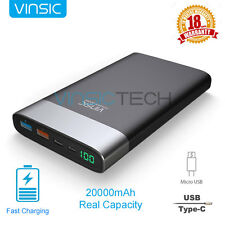 Vinsic 20000mAh QC 3.0 Quick Charger USB-C Power Bank External Portable Battery