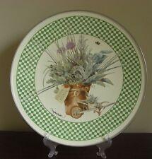 "Marjolein Bastin Fresh Herbs Enamel Tray Plate Green Check Design 13 1/2"""