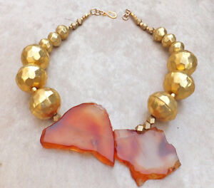 1-OF-A-KIND Hammered African Beads Freeform Carnelian Gold Statement Necklace