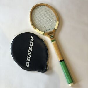 """Lindop Winton Vintage Wooden Tennis Racket M 4 5/8"""" Rare With Dunlop Cover"""
