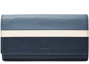 New Fossil Emma RFID Wallet blue Multi striped leather snap closure flap