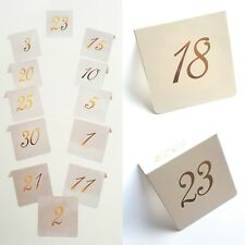 1-30 TABLE NUMBERS-WEDDING/EVENT/PARTY-WHITE CARD/GOLD LETTERING-NUMBER/TABLES