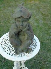 nain ou lutin en fonte assis pat vert antique statue