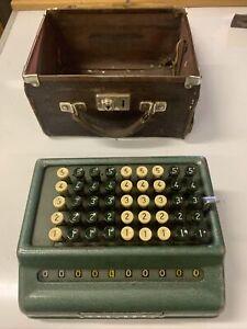 ORIGINAL VINTAGE The Plus Adding Machine Bells Punch 509 S LEATHER CASE