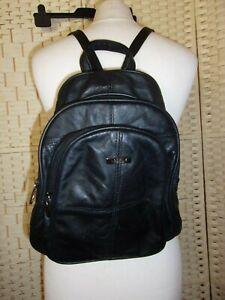 Lorenz black leather backpack bag.