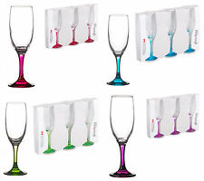Set of 3 6 Champagne Glasses Flutes Wine Coloured Stem Gift Party 190 ml