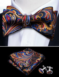 Mens Silk Bow Tie Adjustable Novelty Pre Bowtie Red Black Paisley Floral Wedding