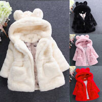 Kids Baby Girl Bunny Winter Hooded Coat Cloak Jacket Warm Outerwear Clothes