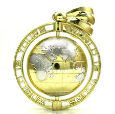 24 Grams Mens 10k Yellow Real Gold Spinning World Is Yours Globe Charm Pendant