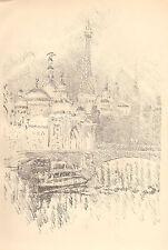1900 originale Litografia di Joseph Pennell sera effetto ESPOSIZIONE DI PARIGI