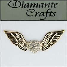 3D Angel Wings and Heart Gold Alloy Encrusted Clear Diamantes Decoden 3CB2013