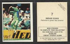 AUSTRALIA 1982 SCANLENS CRICKET STICKERS SERIES I - IMRAN KHAN # 7