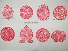 8 x Henna Reusable Rubber Stencils Henna Temporary Tattoo Body Art Design Kit .