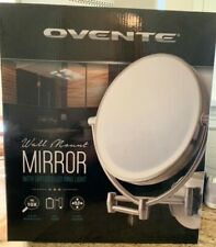 Ovente Wall Mirror w/diffused Led Ring Light 1x10x Magni 9 1/2 in dia dual power