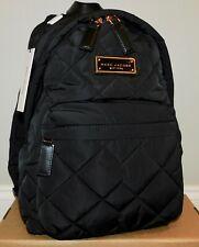 NEW MARC JACOBS BLACK QUILTED NYLON DOUBLE ZIP BACKPACK HANDBAG PURSE SCHOOL BAG