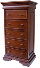 Waxed Mahogany French Sleigh Style Tall Wellington Chest of 6 Drawers Tallboy