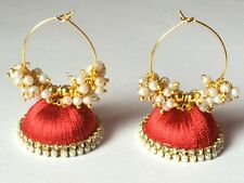 Silk Thread Jhumka Earrings - Red with Glass Pearl Loreal Beads