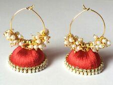 Silk Thread Jhumka Earrings - Red with Glass Pearl Loreal Beads