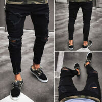 Cool Men's Ripped Skinny Jeans Destroyed Frayed Slim Fit Denim Pants Trousers