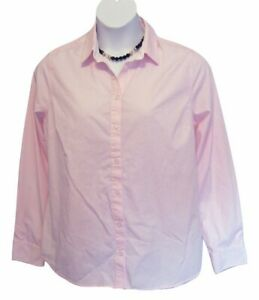 Pink Pinstripe Blouse Size XL 16 18 PINSTRIPED Shirt Career Long Sleeve George