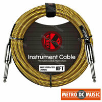 Kirlin 10ft Yellow Woven Guitar Bass Instrument Cord Cable 20AWG 1/4 + Tie NEW