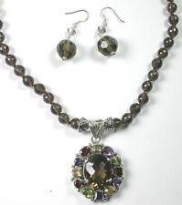 Smoky Quartz Necklace  Multigem Pendant  Earrings Set  Mother of Bride Wedding