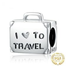 925 Sterling Silver Travel Luggage Shape Beads Charm For Bracelet Jewelry Making