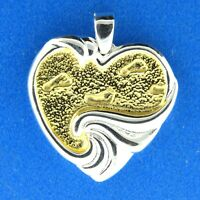 Gorham Foot print Heart Pendant in two tone Sterling Silver 10g. 1 inch