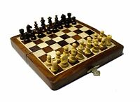 Handcrafted Wooden Folding Magnetic Chess Set - Wood Travel Games 7 inches