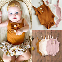 Newborn Infant Baby Girls Pure Color Ruffles Suspenders Romper Bodysuit Outfits