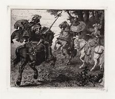 "FRAMED 1800s JACOMB-HOOD Original Etching of ""St. George's Combat "" SIGNED COA"
