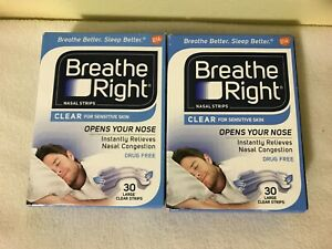 Breathe Right Clear 2 - Pack 30/Box = 60 Large Clear Strips For Sensitive Skin