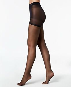 CALVIN KLEIN Sheer Stretch Pantyhose With Control Top Black D - NEW