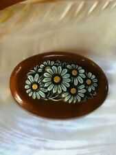 Vintage Large Wood Oval with Blue Plastic Daisy Flowers Cluster Pin Brooch Penda