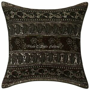 Zari Embroidered Indian Cotton Cushion Cover Floral Pillowcase Traditional Decor