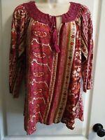 Women's LUCKY BRAND Boho Crochet Lace Tassle 3/4 Sleeve LARGE Cotton Top