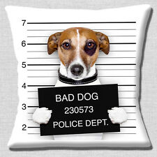 "Funny Jack Russell Dog 16""x16"" 40cm Cushion Cover Bad Dog Jail Mug Shot Photo"