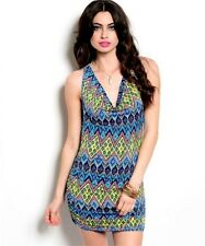 Womens Blue Gold Multi-color Sexy Fitted Mini DRESS Clubwear Party Bodycon S M L