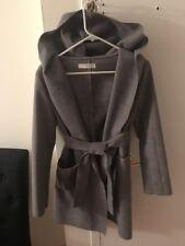 Women's Heather Gray Open Front Wrap Coat/cardigan,Tie Belt And Hood, Small