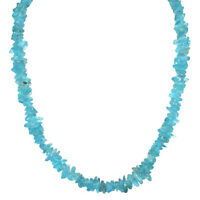 """CHARGED Neon Blue Apatite Crystal Chip 18"""" Necklace Healing Energy WOW!!!"""