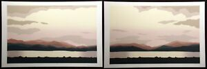 """Jim Boutwell """"Cedar Lake I & II"""" Diptych 2 Signed Numbered Serigraph Art Prints"""