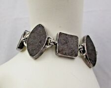 """JLR Janice Lee Ripley STERLING SILVER Bracelet BROWN Agate Toggle Clasp 7-1/2"""""""