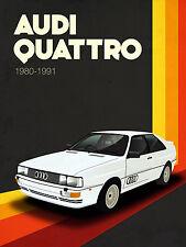 Audi Quattro, Retro Metal Fridge Magnet,100mm x 75mm Novelty Gift
