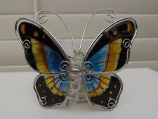 BUTTERFLY TEA LIGHT with CANDLE GLASS ORNAMENT NEW DESIGN C BLACK BLUE & YELLOW