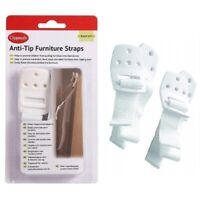 2 x Anti-Tip Furniture Straps White Baby & Child Safety Home Proofing Brackets