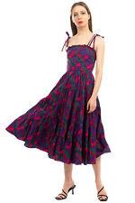 RRP €405 ULLA JOHNSON Midi Flared Dress Size 0 / XS Patterned Ruffle Strappy