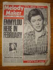 MELODY MAKER 1977 DEC 17 DAVID BOWIE HEROES EMMYLOU
